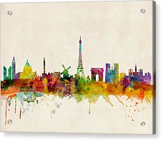 Paris Skyline Acrylic Print by Michael Tompsett