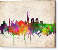 Paris Skyline Watercolor  Acrylic Print