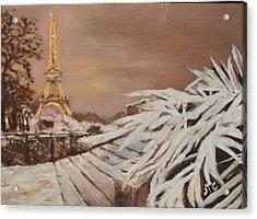Paris Sous La Neige Acrylic Print by Julie Todd-Cundiff