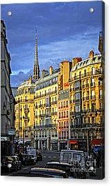 Paris Street At Sunset Acrylic Print by Elena Elisseeva