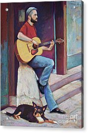 Paris Street Musician And Dog Acrylic Print by Joyce A Guariglia