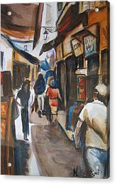 Paris Street Scene Acrylic Print by Melinda Saminski