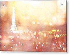 Paris Surreal Dreamy Eiffel Tower Night Lights - Paris Fantasy Eiffel Tower Abstract Bokeh Night Art Acrylic Print by Kathy Fornal