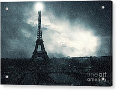 Paris Surreal Eiffel Tower Stormy Winter Snow Landscape - Eiffel Tower Winter Snow Ethereal Skies Acrylic Print by Kathy Fornal