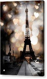 Paris Surreal Fantasy Sepia Black Eiffel Tower Bokeh Hearts And Circles - Paris Sepia Fantasy Nights Acrylic Print by Kathy Fornal