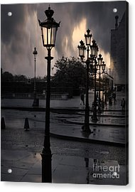 Paris Surreal Louvre Museum Street Lanterns Lamps - Paris Gothic Street Lamps Black Clouds Acrylic Print by Kathy Fornal
