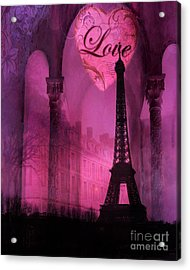 Paris Romantic Pink Fantasy Love Heart - Paris Eiffel Tower Valentine Love Heart Print Home Decor Acrylic Print by Kathy Fornal