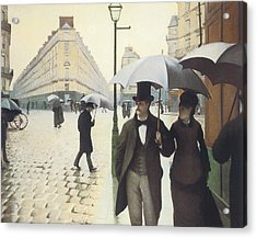 Paris The Place De L'europe On A Rainy Day Acrylic Print by Gustave Caillebotte