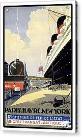 Paris To New York Vintage Travel Poster Acrylic Print