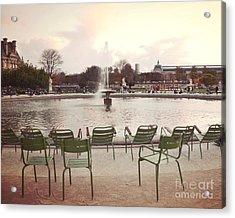 Paris Tuileries Garden Park Fountain Green Chairs - Paris Autumn Fall Tuileries - Autumn In Paris Acrylic Print