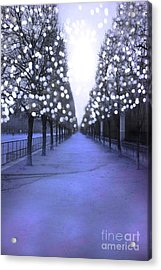 Paris Tuileries Row Of Trees - Purple Lavender Sparkling Twinkling Lights - Paris Sparkling Lights  Acrylic Print