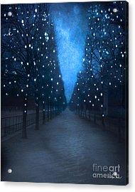 Paris Tuileries Trees - Blue Surreal Fantasy Sparkling Trees - Paris Tuileries Park Acrylic Print