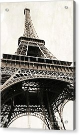 Paris Vintage Sepia Eiffel Tower Architecture - Eiffel Tower Sepia Fine Art Photography Acrylic Print by Kathy Fornal