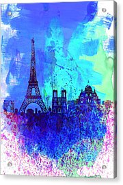Paris Watercolor Skyline Acrylic Print by Naxart Studio