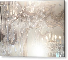 Paris Dreamy White Gold Ghostly Crystal Chandelier Mirrored Reflection - Paris Crystal Chandeliers Acrylic Print by Kathy Fornal