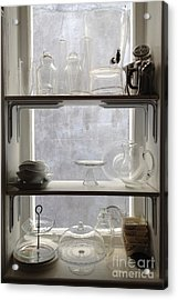 Paris Windows Kitchen Architecture - Paris Vintage Kitchen Window Ethereal Frosted Glass And Dishes Acrylic Print