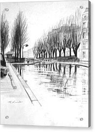 Paris Winter Canal Acrylic Print by Mark Lunde