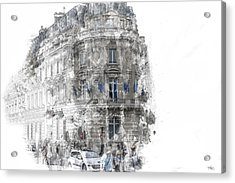 Paris With Flags Acrylic Print by Evie Carrier