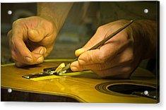 Parisian Luthier At Work Acrylic Print by Kent Sorensen