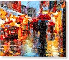 Parisian Rain Walk Abstract Realism Acrylic Print