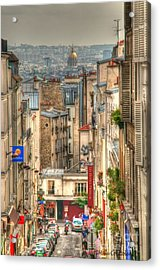 Parisian Street View Acrylic Print by Malu Couttolenc