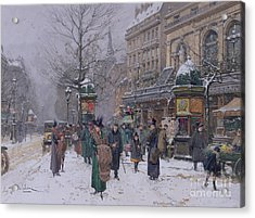 Parisian Street Scene Acrylic Print by Eugene Galien-Laloue
