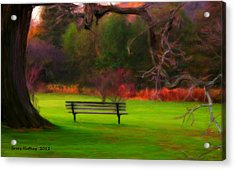 Acrylic Print featuring the painting Park Bench by Bruce Nutting