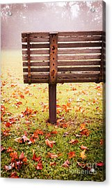 Park Bench In Autumn Acrylic Print by Edward Fielding