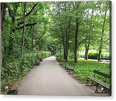 Acrylic Print featuring the photograph Park Bench Poland by Nora Boghossian