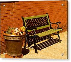 Acrylic Print featuring the photograph Park Bench by Roseann Errigo