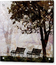 Park Benches Square Acrylic Print by Carol Leigh