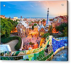 Park Guell In Barcelona - Spain Acrylic Print by Luciano Mortula