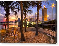 Park On The West Palm Beach Wateway Acrylic Print by Debra and Dave Vanderlaan