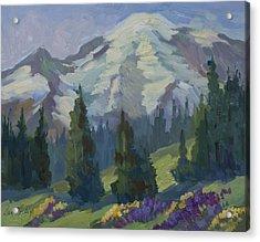 Park Sunrise At Mount Rainier Acrylic Print