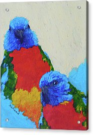 Acrylic Print featuring the painting Parrot Pair by Margaret Saheed