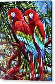 Parrot Pals Acrylic Print by Sebastian Pierre