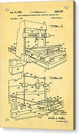 Parsons Numeric Machine Control Patent Art 1958 Acrylic Print by Ian Monk