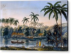 Part Of The Village Of Matavae, Coconut Acrylic Print by French School