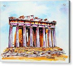 Parthenon Acrylic Print by Maria Barry