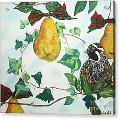 Partridge And  Pears  Acrylic Print by Reina Resto