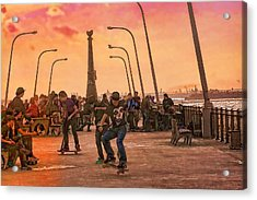 Party At The Pier Acrylic Print by Terry Cork