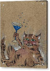 Party Cat Acrylic Print by Angel  Tarantella
