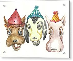 Party Dogs Acrylic Print by Donna Acheson-Juillet