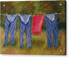 Pa's Trousers Acrylic Print by Belinda Lawson