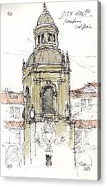Acrylic Print featuring the mixed media Pasadena City Hall by Tim Oliver