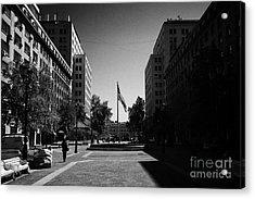 paseo bulnes looking towards bulnes square and la moneda palace Santiago Chile Acrylic Print by Joe Fox