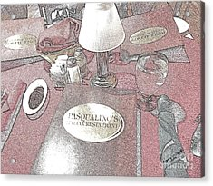 Acrylic Print featuring the digital art Pasqualino's Restaurant Setup by Angelia Hodges Clay