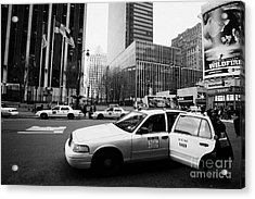 Passenger Gets Out Of Rear Door Of Yellow Taxi Cab On 7th Avenue New York City Usa Acrylic Print by Joe Fox