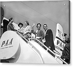Passengers Board Panam Clipper Acrylic Print by Underwood Archives