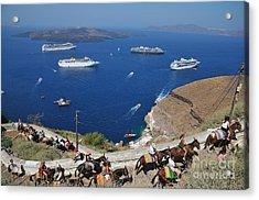 Passengers From Cruise Ships On The Way To Fira City Acrylic Print by George Atsametakis